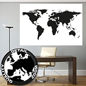 Tapiz Fotográfica Mapa Negro Blanco Mural Decoración Globo Mapa Tierra Continente Atlas Mapa World Map Globo Tierra map of the world I foto-mural foto póster deco pared by GREAT ART (210×140 cm)