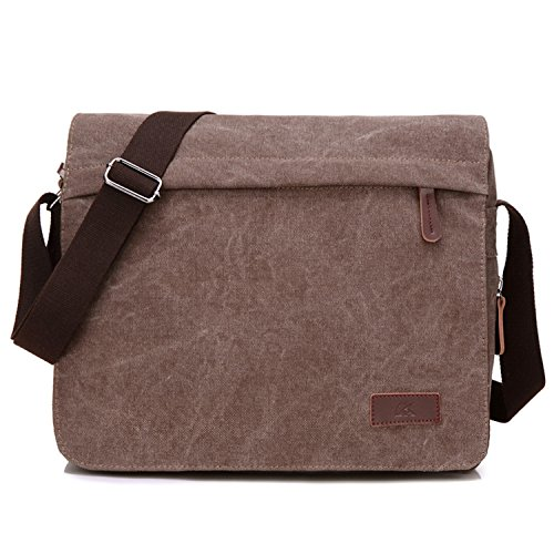 Young & Ming - Men Male Canvas Briefcase Shoudler Bag Office Bag Handbags Messenger Bag Computer bag (Leder Givenchy Braun)