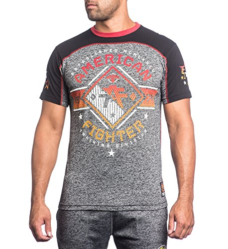 American Fighter by Affliction T-Shirt Massachusetts Grau/Schwarz Grau