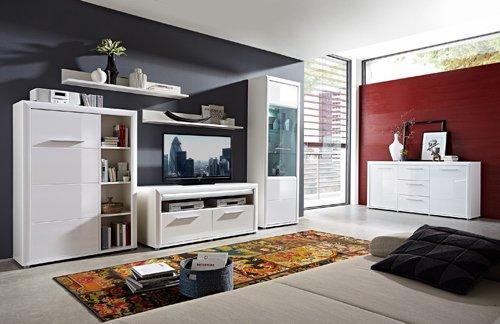 Sideboard in Hochglanz weiß, 2 Türen, 3 Schubkästen, 2 Einlegeböden, Maße: B/H/T ca. 180/90/43 cm - 4