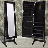 binzhoueushopping Standspiegel Schwarz Schmuckschrank LED Spiegelschrank Stehend Ganzkörperspiegel 46 x 37 x 146 cm