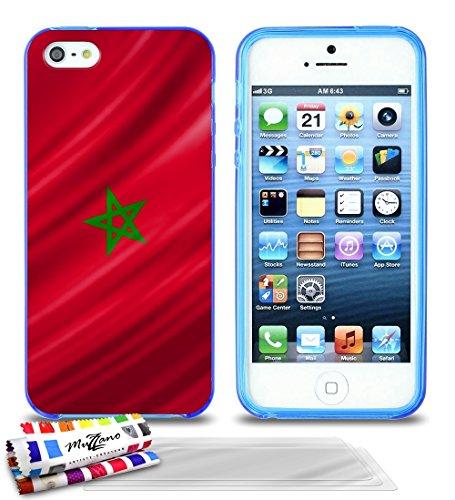 Ultraflache weiche Schutzhülle APPLE IPHONE 5S / IPHONE SE [Marokko Flagge] [Rot] von MUZZANO + STIFT und MICROFASERTUCH MUZZANO® GRATIS - Das ULTIMATIVE, ELEGANTE UND LANGLEBIGE Schutz-Case für Ihr A Blau + 3 Displayschutzfolien