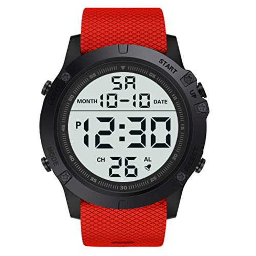 EUCoo_Watch Eucoo Mode Herrenuhr MilitäR Luxus Led Leuchtende Digitale Wasserdichte Uhr Sportuhr(rot)