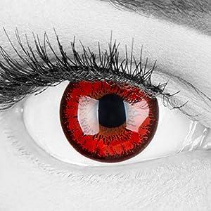 Farbige rote Crazy Fun Kontaktlinsen 'Red Flower' ohne Stärke mit gratis Linsenbehälter – Topqualität zu Karneval, Fasching und Halloween 2019