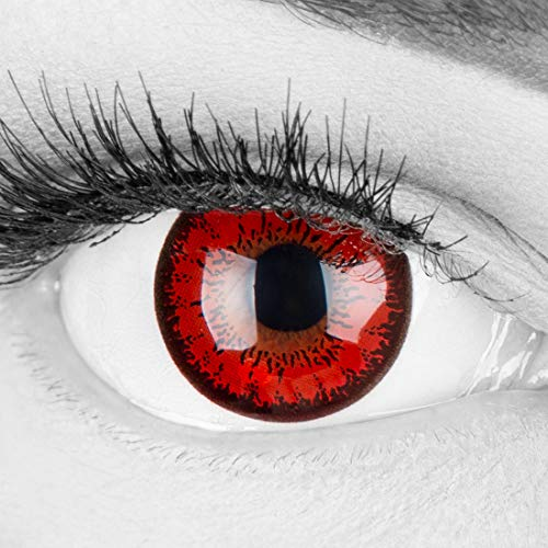 Farbige rote Crazy Fun Kontaktlinsen \'Red Flower\' ohne Stärke mit gratis Linsenbehälter - Topqualität zu Karneval, Fasching und Halloween 2019