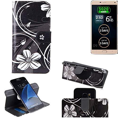 K-S-Trade Schutzhülle für Allview P8 Energy Pro Hülle 360° Wallet Case Schutz Hülle ''Flowers'' Smartphone Flip Cover Flipstyle Tasche Handyhülle schwarz-weiß 1x