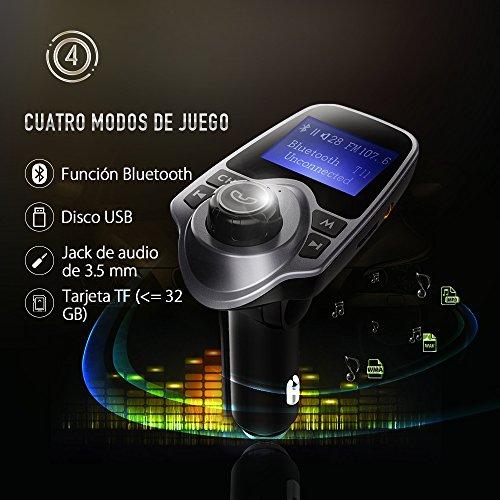 Manos Libres Bluetooth Transmisor FM Coche de VicTsing  Reproductor MP3 Coche  Adaptador de Radio  1.44 Pulgadas Cargador de Coche de USB Gris