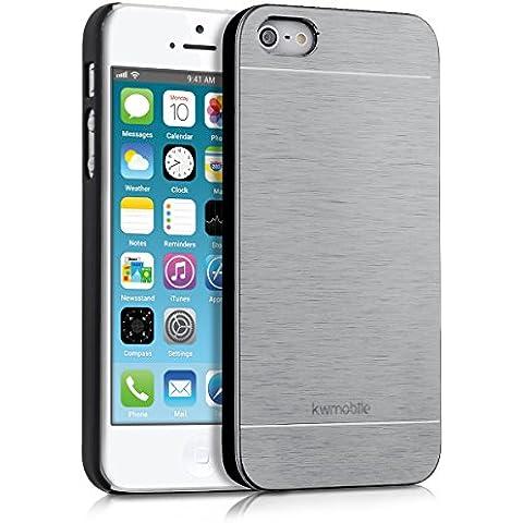 kwmobile Funda rígida de alta calidad para Apple iPhone SE / 5 / 5S con refuerzo de aluminio pulido en la parte trasera en plata. Moderna funda protectora fabricada conforme a las normas de calidad más exigentes.