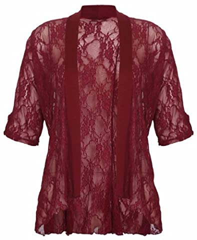 Womens Floral Lace Short Turn Up Cuff Sleeve Ladies Waterfall Front Open Cardigan Top Plus Size Burgundy Size