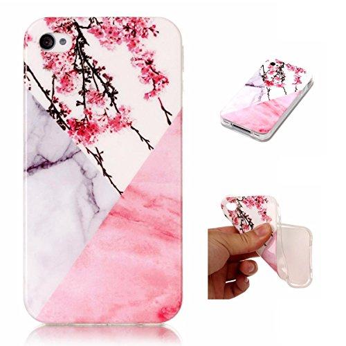 OnlyCase iPhone 4 / iPhone 4S Hülle Handyhülle Schutzhülle, Premium Stilvolle Marmor Muster Erstklassiger TPU Weiche SilikonGel Schutzhülle Telefon, Pflaumenblüte (Muster Iphone 4s Fall)