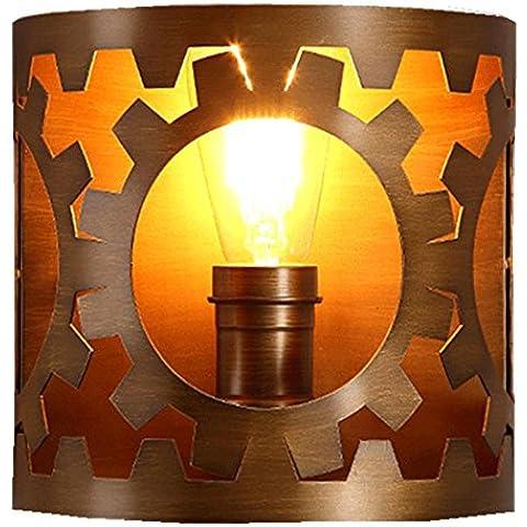 FWEF Lámpara de pared de botón Lron viento Retro restaurante salón personalidad Bar iluminación industrial bar Café iluminación 21 * 21cm
