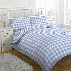 parure housse de couette motif carreaux vichy bleu. Black Bedroom Furniture Sets. Home Design Ideas