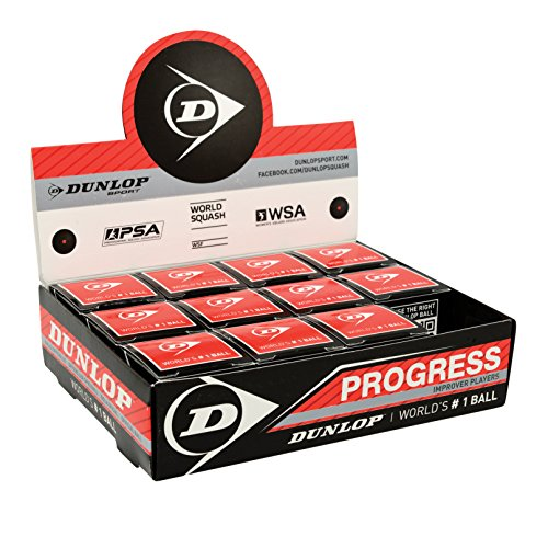 Squashball Dunlop Progress 12 Bälle roter Punkt