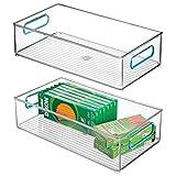 MetroDecor mDesign Juego de 2 Cajas de almacenaje con Asas integradas – Cajas organizadoras para Cocina, baño o Material de Oficina – Organizador de Escritorio en plástico – Transparente/Azul
