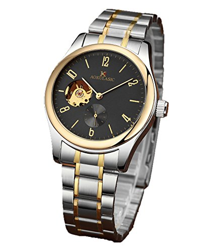 AOKULASIC Mens 30 Meters Waterproof Automatic Machine Watch with Unique Sub SEC. Dial and Skeleton Dial. (Gold)