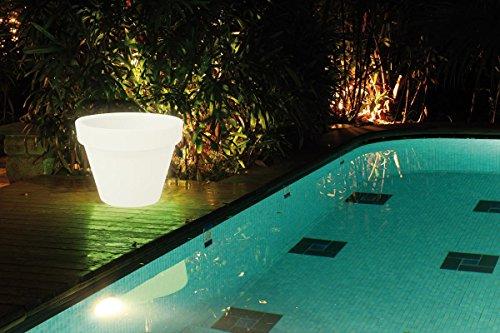 Kokido K962WBX/EU - Maceta Decorativa con Luz Led Kokido Mueblo - Batería recargable, mando a distancia y múltiples colores de luces (60 x 64 cm)