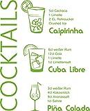 GRAZDesign 300022_50_WT063 Wandtattoo Küche Rezept Cocktails Caipirinha Cuba Küchentattoo/Deko für Küchenwand (62x50cm//063 Lindgrün)