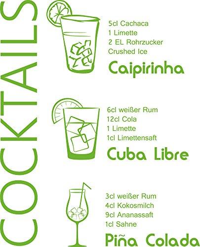GRAZDesign Wandtattoos für die Küche Cocktails - Küche Aufkleber Rezepte - Aufkleber Küche...