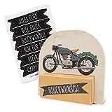 itenga Geldgeschenk oder Gastgeschenk Verpackung Motorrad Vintage mit Stickerbogen aus Karton 12x11,5cm