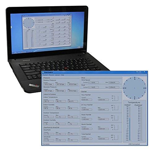 YAOBLUESEA Wetterstation Funkwetterstation Wetterstationen mit Funk Windmesser /Regenmesser /Temperatur mit Alarmen / Luftfeuchtigkeit ,Software Touchscreen - 2