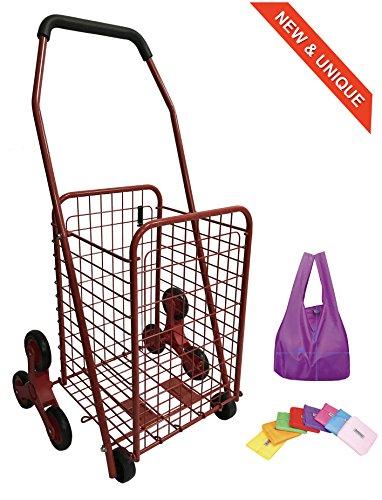 Einkaufstrolley aus Metall 45L - Treppensteigräder - Faltbar - Rote Farbe