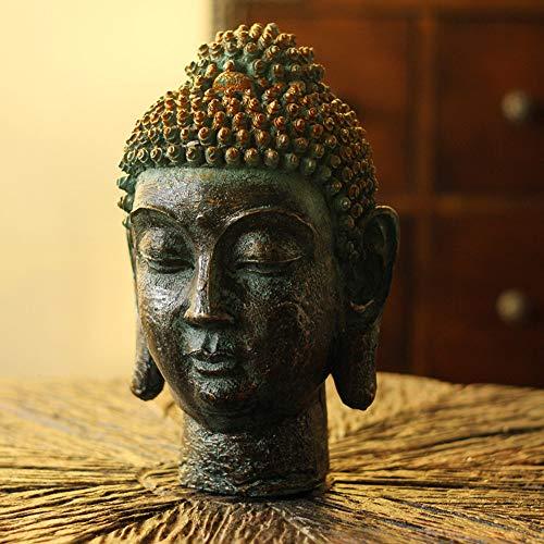ren Ornamente Thai Buddha Kopf Ornamente Zen Buddha Statuen Wohnzimmer Veranda Weinschrank Handwerk Town House Thai Restaurant Dekorationen ()