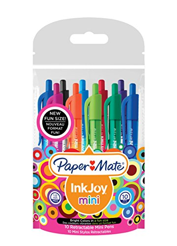 paper-mate-inkjoy-100-mini-rt-stylo-bille-retractable-pointe-moyenne-1mm-assortiment-fun-lot-de-10