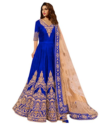 1 Stop Fashion Blue Colour Banglori Silk With Heavy Embroidery Work Semi-Stitched Anarkali Suit