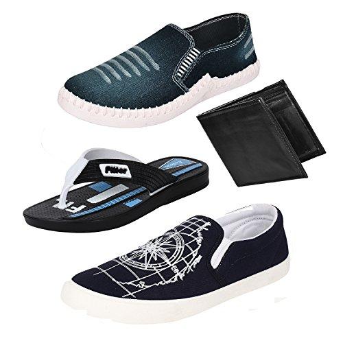 Bersache Men Combo Pack of 4 Loafers & Moccasins With Flip-Flops & Wallet (6 UK)