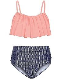 b46a6e9f18944d KUONUO Damen Bikini Oberteil Vintage Sexy Bikini Set Push Up High Waist  Hose und Oberteil Strand