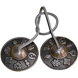 """Tingsha tibetano Meditación Bell 2,5""""Buda Mantra Bell hecho a mano en India instrumento Musical"""