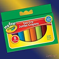 B-Creative My First Crayola 8 Jumbo Wax Crayons - Easy Grip Fat Crayons in Assorted Colours