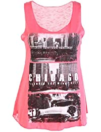 Womens Ladies Racer Back Chicago Print Stretch Vest Top