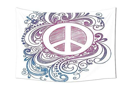 Groovy Dekorationen Tapisserie Classic Hand Drawn Stil Peace Zeichen und wirbelt Freiheit wechseln Hoffnung Rolle Icon Schlafzimmer Wohnzimmer Wohnheim Decor Pink Blau Weiß, multi, 90.5W By 59L Inch