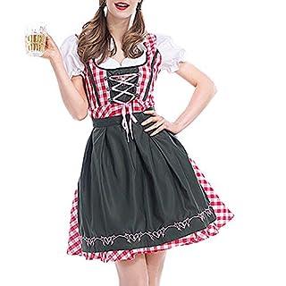 havecolor Kleider Damen Bierfest Midikleid Abendmode Jumpsuits Cosplay München Dirndl Hexenkostüm Frauen Overall Angenähte Bluse Karneval Oktoberfest Dienstmädchen Kostüm (L, Rot)
