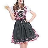 Yazidan 2 Stück Frau Bandage Zahlt Bayrisch Oktoberfest KostüMe Bardame Dirndl Kleid Damen Flirty FranzöSisch Maid Mit Halloween Schick KostüM Erwachsene Clubkleidung Bluse(rot,XL)