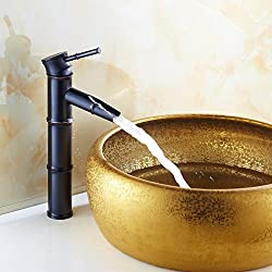 Auralum® Grifo de Lavabo Cascada Monomando Fregadero Retro Elegante Negro Bambú Baño Grifo
