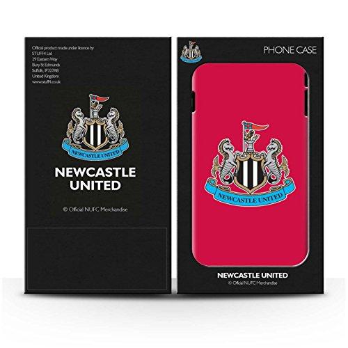 Offiziell Newcastle United FC Hülle / Glanz Harten Stoßfest Case für Apple iPhone 8 Plus / Mono/Schwarz Muster / NUFC Fußball Crest Kollektion Farbe/Rot