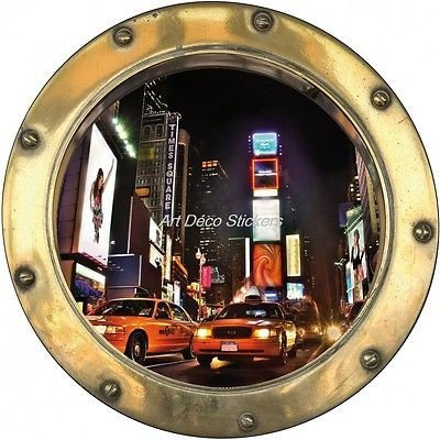 Stickers porthole trompe l/'oeil palms sunset ref porthole 8801