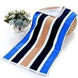 Quner asciugamani di cotone a righe colorate durevole morbido confortevole asciugamani per bagno, spiaggia piscina spa yoga palestra 99,1x 185,4cm, Blue, 30 x 14in