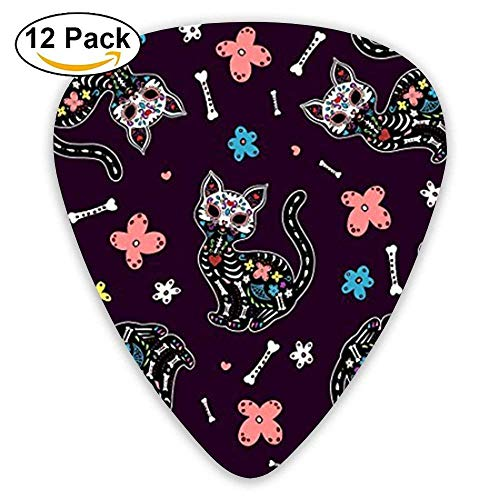 Candy Skull Cats Mexican Guitar Picks For Electric Guitar 12 Pack