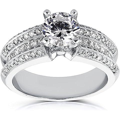 Redondo y princesa diamante anillo de compromiso 22/5de quilate en 14K oro blanco _ 7,5