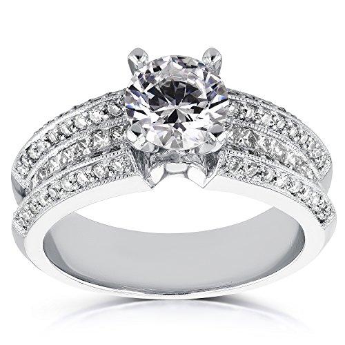Intelligent Da Donna 14k Bianco Oro 3 Pietra Originale Diamante Fidanzamento To Rank First Among Similar Products Orologi E Gioielli Con Diamanti