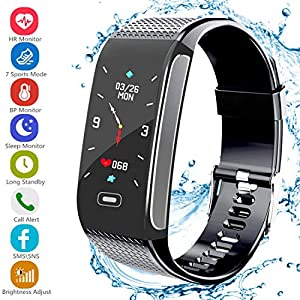 Fitness Tracker , 2018 Upgrade Activity Tracker with Pedometer Bluetooth Blood Pressure Heart Rate Monitor IP67 Waterproof Step Calorie Distance Tracker Call SMS SNS Remind for Men Women Kids Android IPhone (Black)
