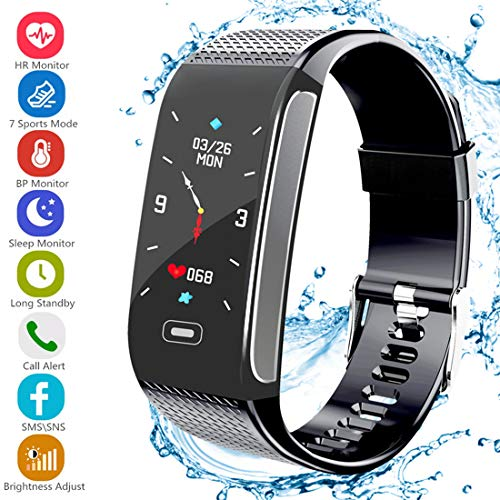Fitness Tracker, Activity Tracker with Pedometer Blood Pressure Heart Rate Monitor IP67 Waterproof Step Calorie Distance Tracker Call SMS SNS Remind for Men Women Kids Compatible for Android IPhone