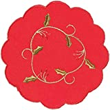 PAIRS OF RED CHRISTMAS EMBROIDERED MATS (DOILIES) IN 6 INCH, 8 INCH OR 12 INCH ROUND (2 Red holly vine 6 inch Round (15cm) mats (14041))