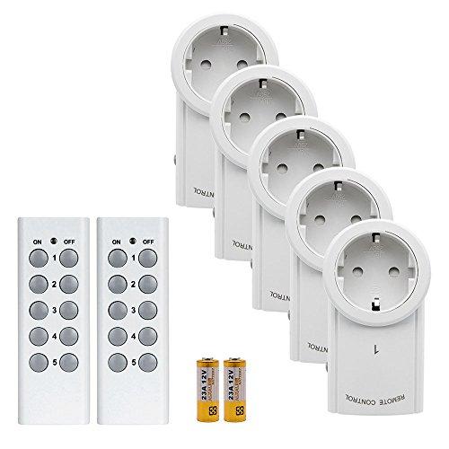 TOP-MAX Smart Funksteckdosen Set aus 5 Funksteckdosen mit 2 Fernbedienung Funkschalt Set Handsender und Kindersicherung Batterie einschließen
