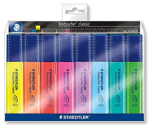 Staedtler Textsurfer classic 364, Surligneur résistant aux UV, Couleurs fluos, Set 8 surligneurs assortis, pointe biseautée 1 à 5 mm, 364  WP8
