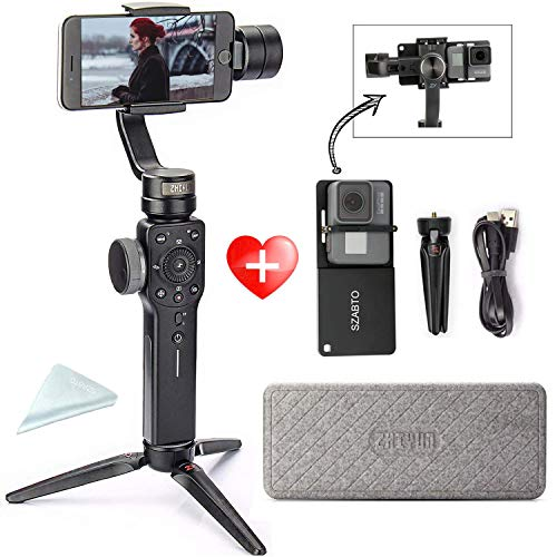 Zhiyun Smooth 4 (avec Tripied + Gopro Adaptateur) Smartphone Gimbal 3 Axes de Poche stabilisateur pour GoPro Hero 6 5 4 7 7 8 iPhone Plus 6 6s Samsung Galaxy S9 S9 + S8 S8 + Note 8