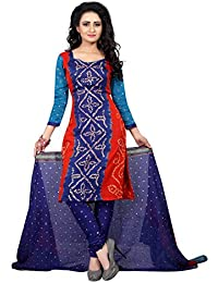 Taboody Empire Low Priced Blue Satin Cotton Handi Crafts Bandhani Work With Straight Salwar Suit For Girls And...
